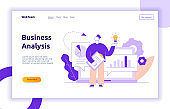 Vector business and finance design concept with big man holding idea light bulb. Brainstorming picture with cogs, graphs, diagrams, paper plane, leaves. Financial analysis big data illustration.