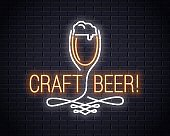 Beer glass neon sign. Craft beer neon logo on wall background