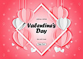 Valentine's day sale background with paper art of origami heart shape, vector illustration template, banners, Wallpaper, invitation, posters, brochure, voucher discount.