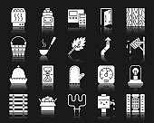 Sauna Equipment white silhouette icons vector set