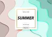 Summer sale background with paper art of the beach, abstract design, vector illustration template, banners, Wallpaper, invitation, posters, brochure, voucher discount.