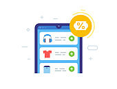 Discount, smartphone, purchase benefit. Flat illustration Icons infographics. Landing page site print poster.