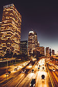 urban skyline of los angeles with traffic