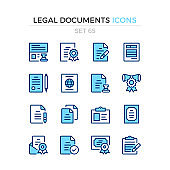 Legal documents icons. Vector line icons set. Premium quality. Simple thin line design concepts. Modern outline symbols collection, pictograms.