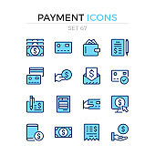 Payment icons. Vector line icons set. Premium quality. Simple thin line design. Modern outline symbols collection, pictograms.