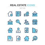 Real estate icons. Vector line icons set. Premium quality. Simple thin line design. Modern outline symbols collection, pictograms.