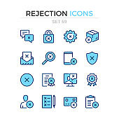 Rejection icons. Vector line icons set. Premium quality. Simple thin line design. Modern outline symbols collection, pictograms.