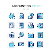 Accounting icons. Vector line icons set. Premium quality. Simple thin line design. Modern outline symbols collection, pictograms.
