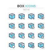 Box icons. Vector line icons set. Premium quality. Simple thin line design. Modern outline symbols collection, pictograms.
