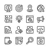 SEO line icons set. Target marketing. Modern graphic design concepts, simple linear outline elements collection. Thin line design. Vector line icons