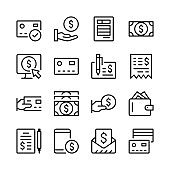 Payment line icons set. Money. Modern graphic design concepts, simple linear outline elements collection. Thin line design. Vector line icons