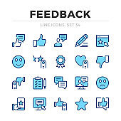 Feedback vector line icons set. Thin line design. Online review, client experience, customer satisfaction. Modern outline graphic elements, simple stroke symbols. Feedback icons