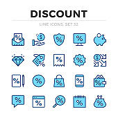 Discount vector line icons set. Sale, clearance, special offer. Thin line design. Modern outline graphic elements, simple stroke symbols. Discount icons