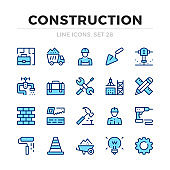 Construction vector line icons set. Thin line design. Modern outline graphic elements, simple stroke symbols. Construction icons