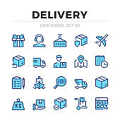 Delivery vector line icons set. Shipment, shipping, logistics. Thin line design. Outline graphic elements, simple stroke symbols. Delivery icons