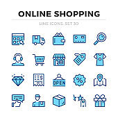 Online shopping vector line icons set. Thin line design. Modern outline graphic elements, simple stroke symbols. Online shopping icons