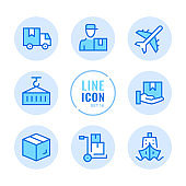 Delivery vector line icons set. Warehouse, courier service, shipment, distribution outline symbols. Linear, thin line style. Simple stroke outline graphic elements for web design, websites, mobile app. Round icons