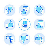 Like vector line icons set. Like, dislike, thumbs up, good review, customer satisfaction, recommend outline symbols. Linear, thin line style. Simple stroke outline graphic elements for web design, websites, mobile app. Round icons