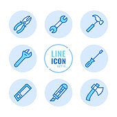 Tools vector line icons set. Wrench, screwdriver, hammer, hand saw, pliers outline symbols. Linear, thin line style. Simple stroke outline graphic elements for web design, websites, mobile app. Round icons