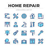 Home repair vector line icons set. Thin line design. Modern outline graphic elements, simple stroke symbols. Home repair icons