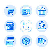 Online shopping vector line icons set. Store, customer support, delivery, discount, shopping cart outline symbols. Linear, thin line style. Simple stroke outline graphic elements for web design, websites, mobile app. Round icons
