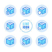 Box vector line icons set. Package, parcel, isometric boxes outline symbols. Linear, thin line style. Simple stroke outline graphic elements for web design, websites, mobile app. Round icons