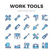 Work tools vector line icons set. Thin line design. Modern outline graphic elements, simple stroke symbols. Work tools icons