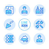 Construction vector line icons set. Building, tower crane, civil engineering, builder outline symbols. Linear, thin line style. Simple stroke outline graphic elements for web design, websites, mobile app. Round icons