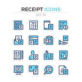 Receipt icons. Vector line icons set. Premium quality. Simple thin line design. Modern stroke outline symbols collection, pictograms.