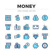 Money vector line icons set. Thin line design. Outline graphic elements, simple stroke symbols. Money icons