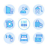 Hotel vector line icons set. Booking, room reservation, bed, shower, hotel amenities outline symbols. Linear, thin line style. Simple stroke outline graphic elements for web design, websites, mobile app. Round icons