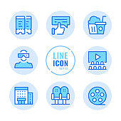Cinema vector line icons set. Movie theater, seats, film reel, popcorn, tickets outline symbols. Linear, thin line style. Simple stroke outline graphic elements for web design, websites, mobile app. Round icons