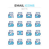 Email icons. Vector line icons set. Premium quality. Simple thin line design. Modern stroke outline symbols collection, pictograms.