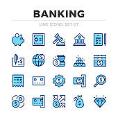 Banking vector line icons set. Thin line design. Modern outline graphic elements, simple stroke symbols. Banking icons