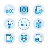 Data protection vector line icons set. Computer security, mobile protection, cybersecurity, login outline symbols. Linear, thin line style. Simple stroke outline graphic elements for web design, websites, mobile app. Round icons