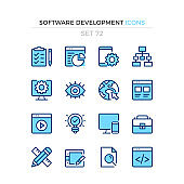 Software development icons. Vector line icons set. Premium quality. Simple thin line design. Modern outline symbols collection, pictograms.