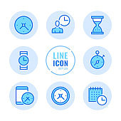 Time vector line icons set. Clock, watch, timer, calendar, stopwatch outline symbols. Linear, thin line style. Simple stroke outline graphic elements for web design, websites, mobile app. Round icons