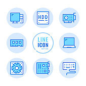 Computer hardware vector line icons set. Computer parts, motherboard, video card, memory stick, hard drive outline symbols. Linear, thin line style. Simple stroke outline graphic elements for web design, websites, mobile app. Round icons