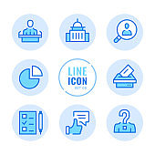 Elections vector line icons set. Voting, ballot box, exit poll, debates, political campaign outline symbols. Linear, thin line style. Simple stroke outline graphic elements for web design, websites, mobile app. Round icons