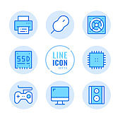 Computer parts vector line icons set. Computer hardware, monitor, SSD disk, mouse, gamepad, printer outline symbols. Linear, thin line style. Simple stroke outline graphic elements for web design, websites, mobile app. Round icons