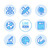 School subjects vector line icons set. Mathematics, physics, chemistry, sport, art, geography outline symbols. Linear, thin line style. Simple stroke outline graphic elements for web design, websites, mobile app. Round icons