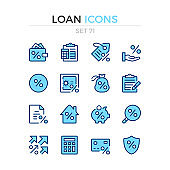 Loan icons. Vector line icons set. Premium quality. Simple thin line design. Modern outline symbols collection, pictograms.