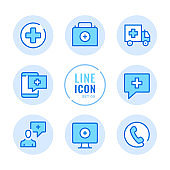 Medical help vector line icons set. Medicine, call an ambulance, medical assistance, first aid kit, emergency outline symbols. Linear, thin line style. Simple stroke outline graphic elements for web design, websites, mobile app. Round icons