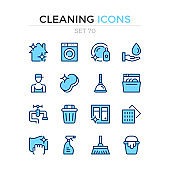Cleaning icons. Vector line icons set. Premium quality. Simple thin line design. Modern stroke outline symbols collection, pictograms.