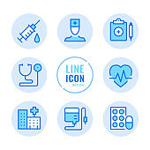 Hospital vector line icons set. Healthcare, doctor, stethoscope, syringe, pills outline symbols. Linear, thin line style. Simple stroke outline graphic elements for web design, websites, mobile app. Round icons