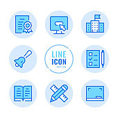 School vector line icons set. Education, diploma, lesson, book, blackboard outline symbols. Linear, thin line style. Simple stroke outline graphic elements for web design, websites, mobile app. Round icons