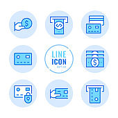 Credit card vector line icons set. ATM, cashback, withdraw cash, online payment outline symbols. Linear, thin line style. Simple stroke outline graphic elements for web design, websites, mobile app. Round icons