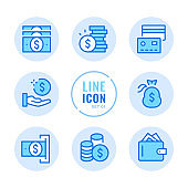 Money vector line icons set. Wallet, cash, payment, coins, credit card outline symbols. Linear, thin line style. Simple stroke outline graphic elements for web design, websites, mobile app. Round icons