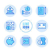 Banking vector line icons set. Bank, money, piggy bank, investing, finance outline symbols. Linear, thin line style. Simple stroke outline graphic elements for web design, websites, mobile app. Round icons