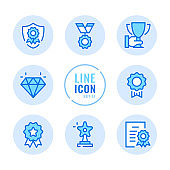 Awards vector line icons set. Reward, trophy, prize, victory, winner, achievement outline symbols. Linear, thin line style. Modern simple stroke outline graphic elements for web design, websites, mobile app. Round icons